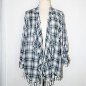 Willow & Clay Plaid Flannel Open Front Cardigan